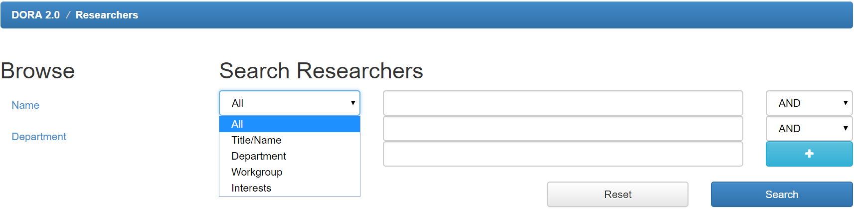 A screen for browsing researchers, looking at filtering options.