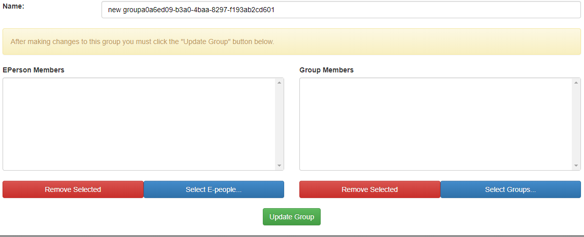 You will be taken to this screen when you create a new group, here you can add e-people and group members.