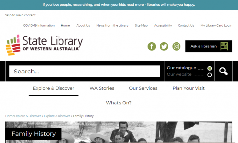 Screenshot of the family history page of the State Library of Western Australia.