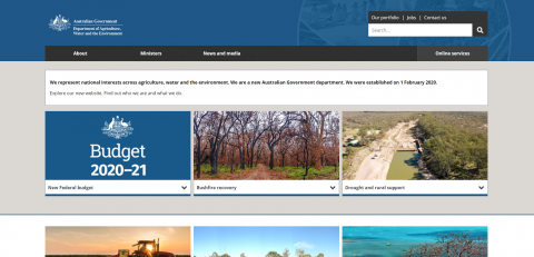 Screenshot of the Department of Agriculture Water and the Environment's homepage.